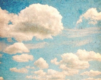 40% OFF SALE Spring Shabby Chic Decor Cloud Photo Nature Decor Blue Wall Art White Clouds in a Blue Sky 8x8 inch Fine Art Photography Print