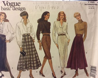 Vintage Skirt Sewing Pattern Vogue Basic Design 1193 Misses' Size 14-16--18 Waist 26-30 inches Complete