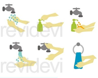 35% OFF SALE Wash your hands clipart - washing hands clipart - digital clip art - instant download