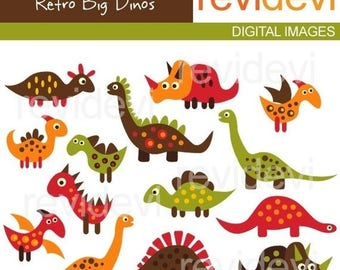 35% OFF SALE Dinosaur clip art - Retro Big Dinos - Digital clipart embellishment - Commercial use for printed invites and stationery, paper