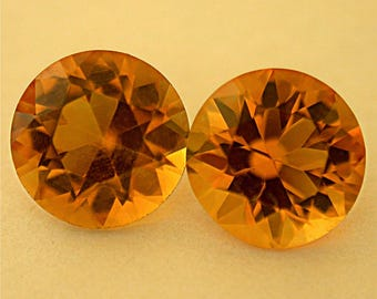 VINTAGE CITRINE Loose Gemstones MATCHING Pair 2.40 cts 7.1 mm fg72f
