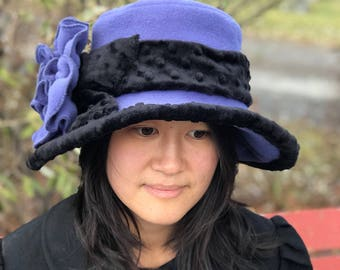 Edwardian Romantic Fleece Hat- Periwinkle- Abigail