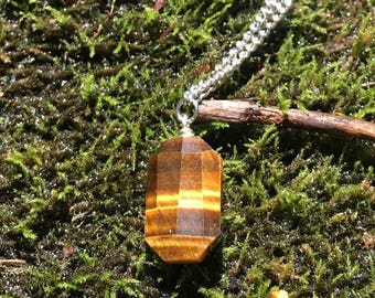 Tiger's Eye Stainless Steel Long Necklace