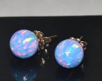 Blue Earrings,  10mm Ball Stud Earrings,  Opal Earrings,  Blue Opal,  Gold Earrings,  Opal Jewelry,  Gold filled,  10mm Stone