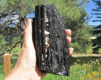 Large Black Tourmaline - Chunk of black tourmaline - 6 inches X 3 inches