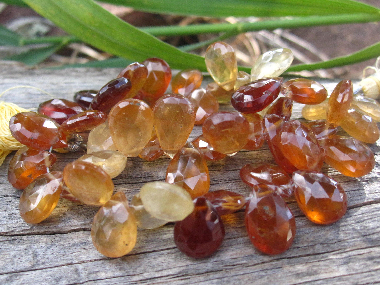 hessonite garnet beads faceted teardrop stone gemstones