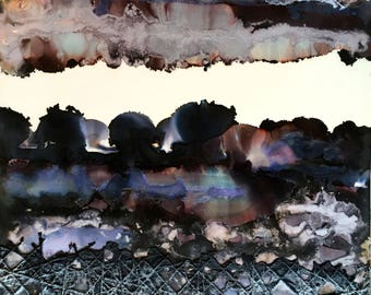 original encaustic painting- Burnt