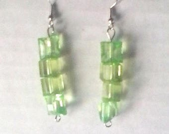 Green Square and Puffed Square Beaded Earrings
