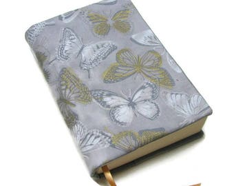 Book cover, TRADE SIZE paperback book cover,  book protector, cotton, padded cover, ribbon bookmark,  Butterflies!