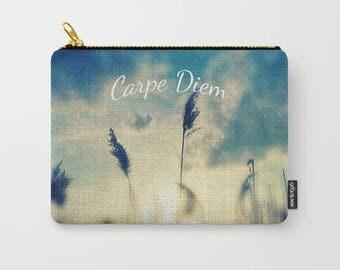 sunset photo-nature-blue sky-inspiring quote-carpe diem-pencil case-coin purse-phone holder-make up bag-purse organizer-gift for her
