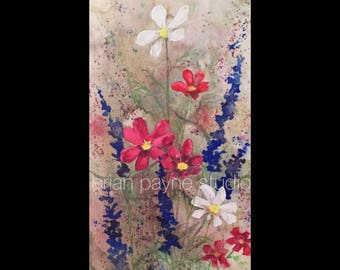 ORIGINAL-OOAK-Watercolor Flowers on Gallery wrapped canvas, impressionistic and pleasing with bold colors-Original watercolor painting!