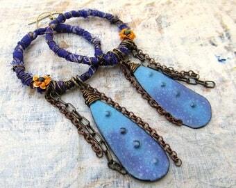 Bold earrings Boho earrings enamel earrings Unique Statement earrings purple earrings turquoise earrings Artisan earrings bohemian jewelry