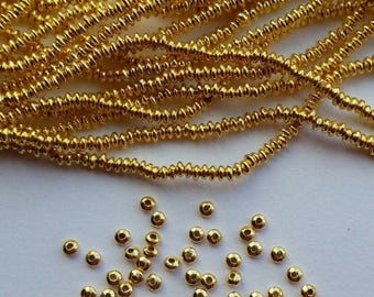 SHOP SALE 2.5mm Rounded Saucer Gold Vermeil over Sterling Silver Shiny Rondelle Spacer Beads (50 beads)