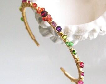Multi Gemstone Cuff, 14k Gold Filled Chakra Bracelet, Stackable Cuff with Tsavorite, Sapphire, Artisan Made, Classic Styling, Unique Design