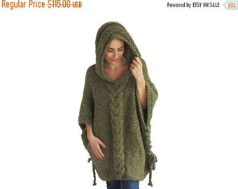 20% WINTER SALE Tweed Green  Plus Size Cable Knit Poncho with Hoodie  by Afra