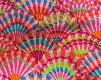 NEW color - Paper Fans in pink by Kaffe Fassett - 2 yards