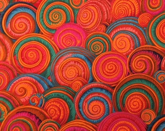 2 yards Spiral Shells in orange from Philip Jacobs