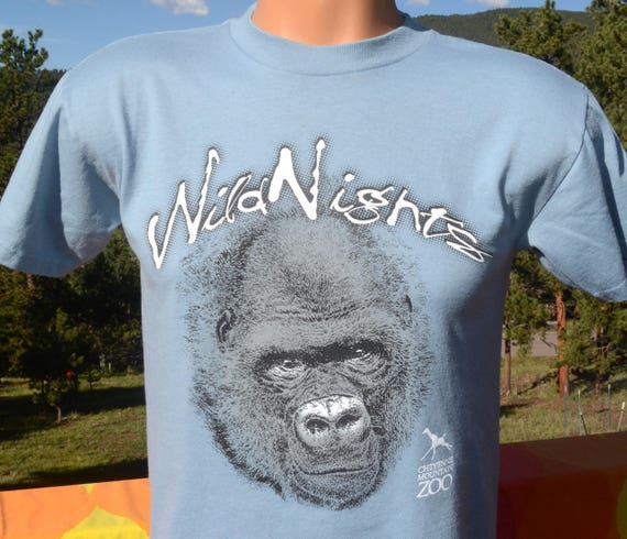vintage 90s kid's tee GORILLA wild nights cheyenne mountain zoo t-shirt children's 16 Large adult XS