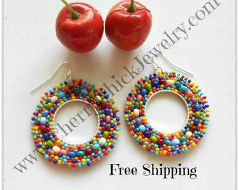 Seed Bead Hoop Earrings - Seed Beaded Hoops - Beadwork Earrings - Hoop Earrings - Seed Bead Hoops - Beaded Earrings - Free Shipping