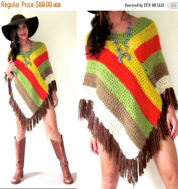 SALE SECTION / 50% off Vintage 60s 70s Multicolored Striped Crocheted Fringe Poncho