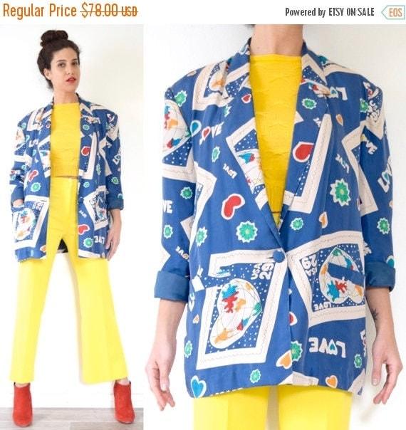 SUMMER SALE / 20% off Vintage 80s 90s World Love Novelty Print Oversized Silk Blazer