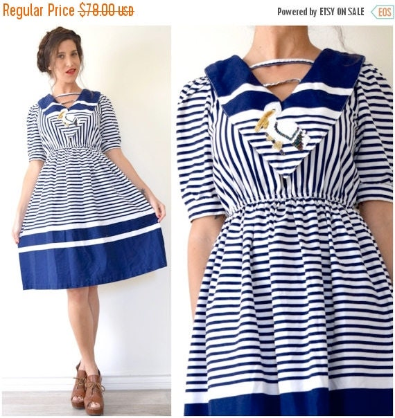 SUMMER SALE / 20% off Vintage 80s does 50s Pelican Cove Navy and White Striped Cotton Sailor Collar A Line Fit and Flare Dress (size small,m