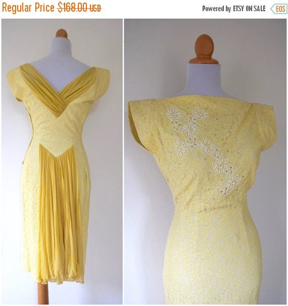 SUMMER SALE/ 30% off Vintage 50s 60s Yellow Lace Beaded Wiggle Dress (size small, medium)