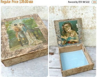 ON SALE Vintage Antique Victorian 1890/1900 French wooden trinket /box adorned with chromolithography outside & inside