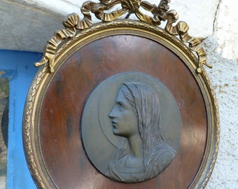 Vintage Antique French gilted Bronze & mahogany signed Ruffony religious plaque wall hanging framed