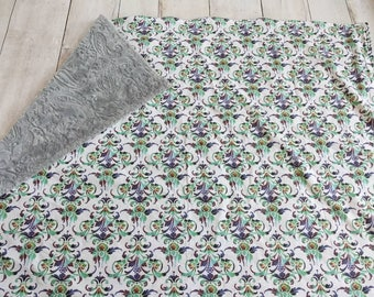 Peacock Blanket - Minky Blanket - Gray Minky Blanket - Purple Teal Navy Blanket - Baby Girl Blanket - Peacock Colors - Baby Gift