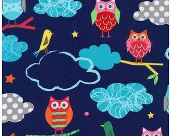 YARD - Creatures and Critters 3, Garden Owl, By Amy Schimler and Robert Kaufman, Blue, Birds Cotton Fabric - SALE