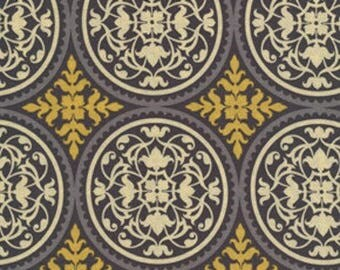 Joel Dewberry Fabric - Aviary 2, Scrollwork in Granite Grey Yellow, Cotton, Abstract - FAT QUARTER
