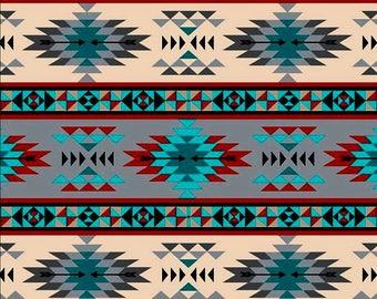 Tribal Stripe, Turquoise Gray, Fabric by David Textiles, Southwestern, Cotton Fabric - HALF YARD