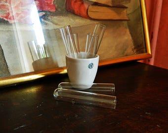 10 old little  vintage glass test tubes  2 1/2'
