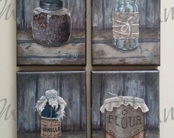 "Four (4) Original Fine Art Painting Set - Acrylic on Canvas - Four 5"" x 7"" - Grouping of Primitive Still Life Artwork"