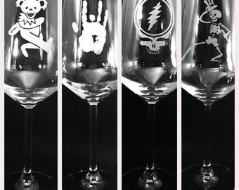Grateful Dead Wine Glass Etched Engraved Stemmed set of 4 Glasses