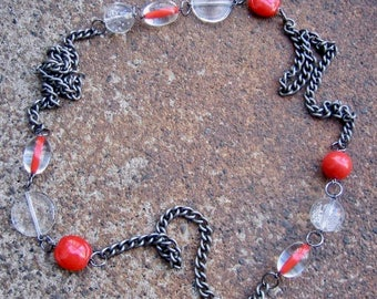 Eco-Friendly Statement Necklace - Fire and Ice - Recycled Vintage Steel Curb Chain and Beads in Bright Poppy Red and Clear
