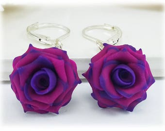 Purple Tip Pink Rose Petal Earrings