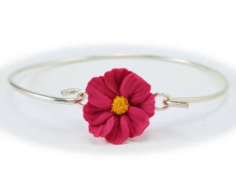 Cosmos Flower Bracelet Sterling Silver Bangle - Cosmos Jewelry, Pink Flower Jewelry, Pink Cosmos