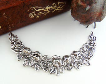 ANTIQUE SILVER * Flower Collar Swag Garland Floral Stamping ~ Jewelry Finding (FC-8)