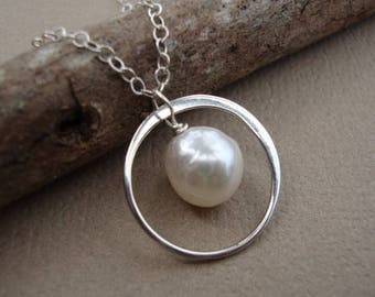 ON SALE Pearl Necklace, Halo Necklace, Akoya Pearl Necklace on STERLING Silver, Circle Pearl Necklace, Wedding Accessory, Bridesmaid Jewelry
