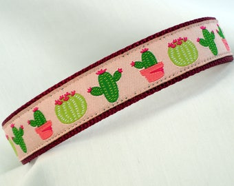 Saguaro - Cactus - Medium Dog Collar - 1 Inch Wide - Adjustable Between 12-17 Inches - Pink - Sonoran Desert - Arizona - READY TO SHIP