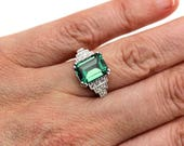 Reserved for Ella Vintage Ring Art Deco Emerald Engagement Ring and Wedding Band