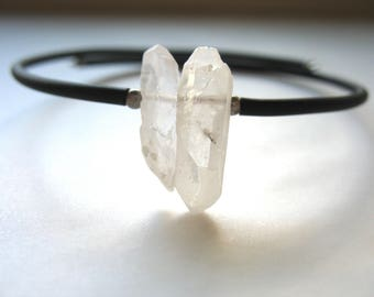 Quartz Crystal Bracelet, Crystal Point Stone Cuff Bracelet , Artisan Handmade Gemstone Jewelry
