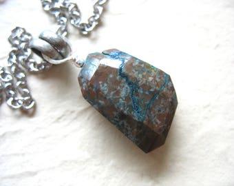 Chrysocolla Necklace, Chrysocolla, Faceted Stone Pendant Gemstone Necklace, Handmade Artisan Jewelry, Pendant Necklace