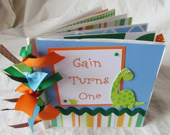 CUSTOM Premade Mini 6x6 Scrapbook Album - PERSONALIZED - BaBY'S FiRST 1st BiRthDaY - Paper Bag book, YoU PiCK theme and colors, any birthday
