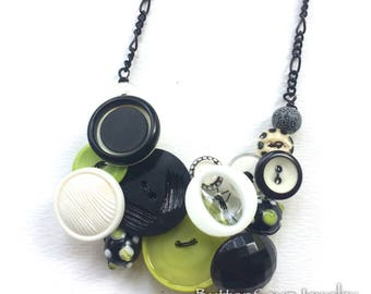 Black and White with Lime Green Retro Statement Necklace Vintage Button Jewelry