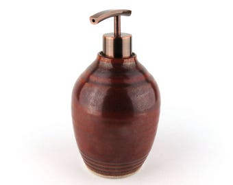 Soap / Lotion Dispenser - 20 oz - Brick Red / Handmade Wheel Thrown Pottery