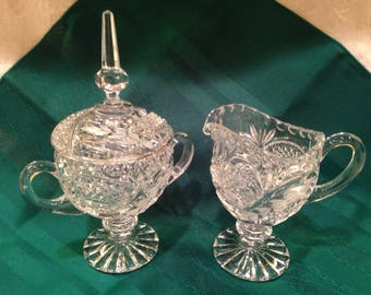 Vintage Pedestal Creamer Covered Sugar Bowl Clear Cut Glass Frosted Leaf