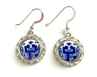 Blue Willow Broken China Jewelry Earrings, Willow Ware Transferware Silver Dangle Drop Earrings, Blue and White Earrings, Gift for Wife